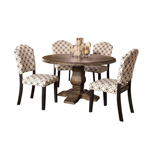 Lorient 5-Piece Charcoal Gray Round Dining Set with Parsons Chairs