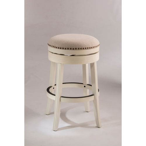 Hilale Furniture Tillman White Backless Swivel Counter Stool