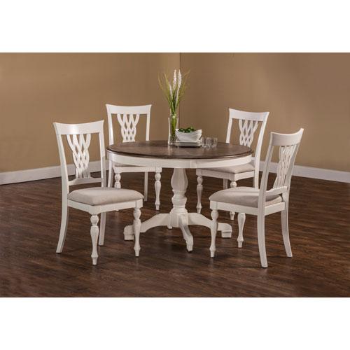 Bayberry White 5-Piece Round Dining Set