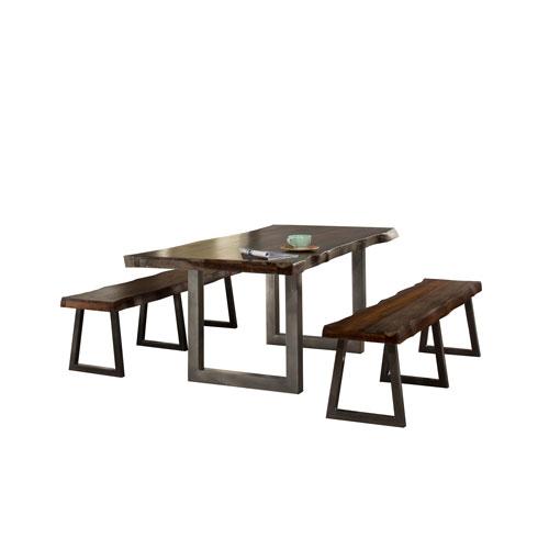 Hillsdale Furniture Emerson Gray Sheesham 3-Piece Rectangle Dining Set