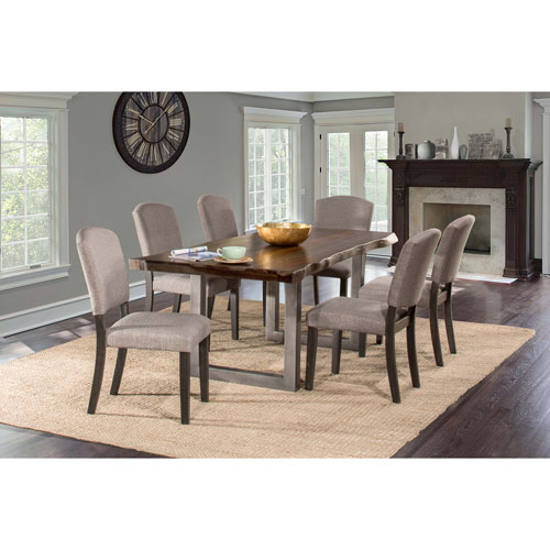 Beau Hillsdale Furniture Emerson Gray Sheesham And Black 7 Piece Rectangle Dining  Set