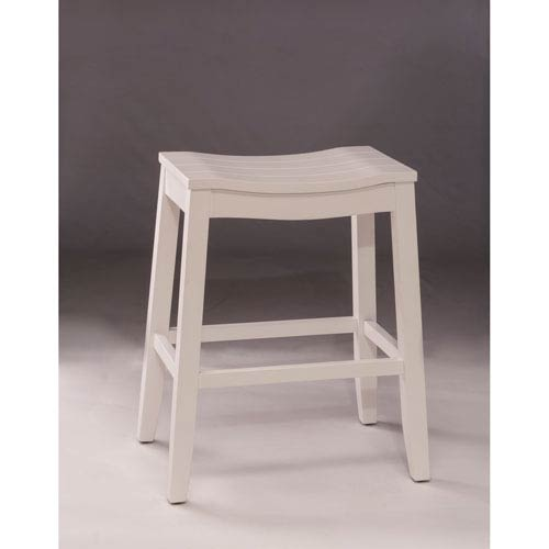 Fiddler White Backless Non Swivel Bar Stool