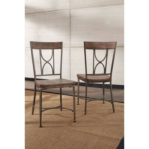 Paddock Brushed Steel Metal and Distressed Wood Dining Chair, Set of 2