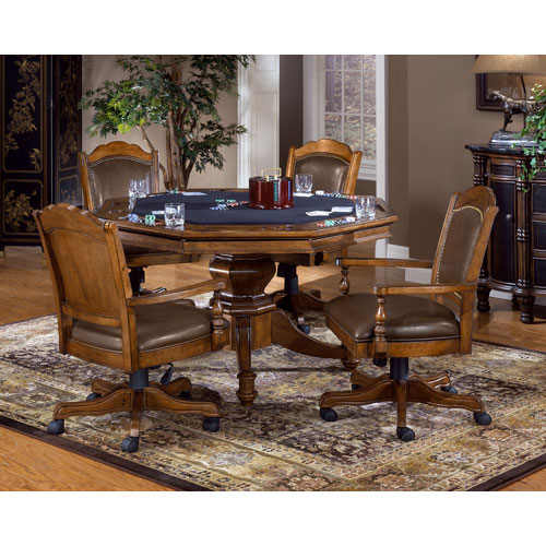 Nassau Brown Game Table Set with Four Chairs