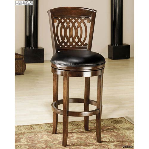 Hillsdale Furniture Vienna Tobacco Swivel Barstool with Black Leather