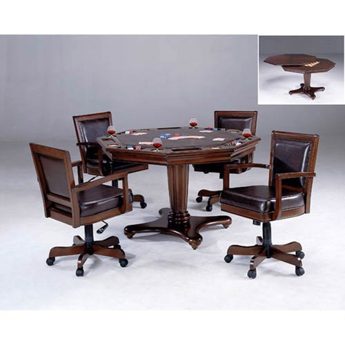 Ambassador Rich Cherry  Octagon Game Table and Four Chairs