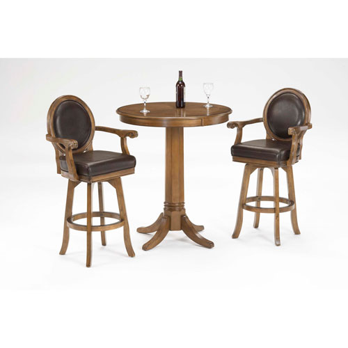 Warrington Rich Cherry 42-Inch High Pub Table and Two Bar Stools