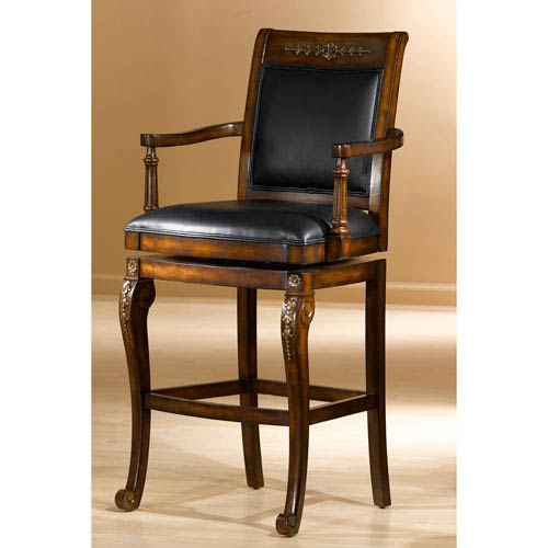 Douglas Distressed Cherry with Gold Highlights Wood Counter Stool with Square Swivel with Arms and Black Leather