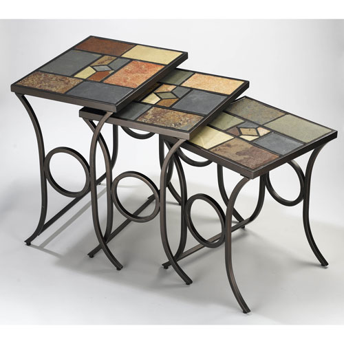 Slate Black Gold/Slate Mosaic Nesting Tables without Glass