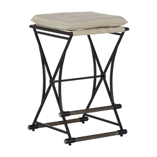 Frederick Soft Chamois and Aged Black Counter Stool
