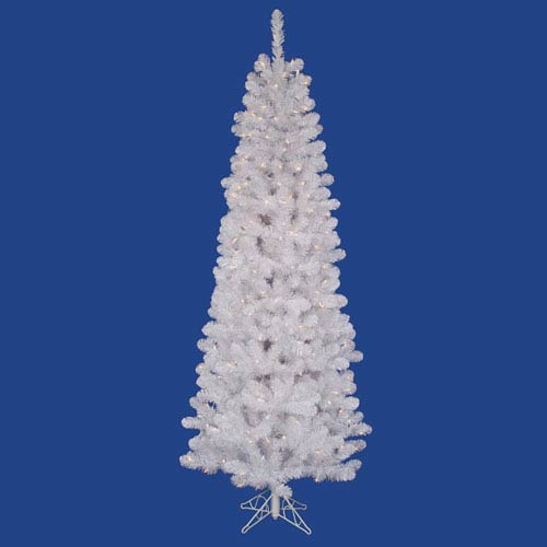 022723d9e6a5 Vickerman White Salem Pencil Pine 7.5 Ft. Artificial Tree with 350 Clear  Lights