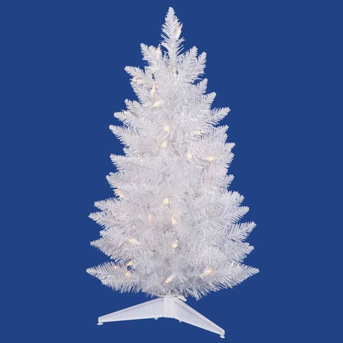 Crystal White Spruce 3 Ft. Artificial Pencil Tree with 45 Pure White LED Lights