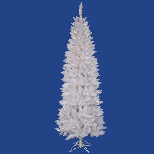 Crystal White Spruce 7.5 Ft. Artificial Pencil Tree with 270 Pure White LED Lights