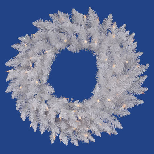 Crystal White Spruce 30 Inch Wreath with 45 Pure White LED Lights