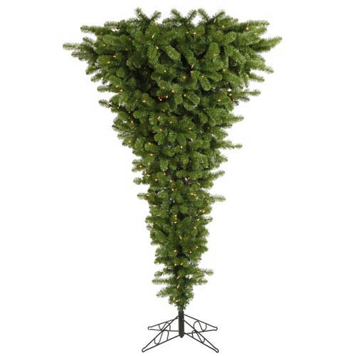 Green 7.5 Foot Upside Down LED Christmas Tree with 500 Warm White Lights