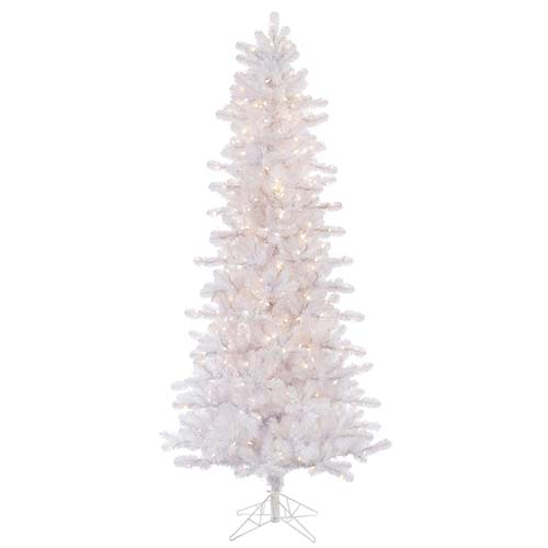 Crystal White Slim Pine 6.5 Foot x 38-Inch Christmas Tree with 400 Clear Dura Light