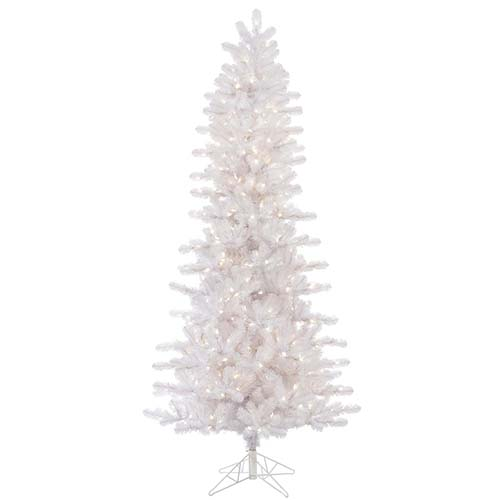Crystal White Slim Pine 6.5 Foot x 38-Inch Christmas Tree with 400 Warm White LED Lights