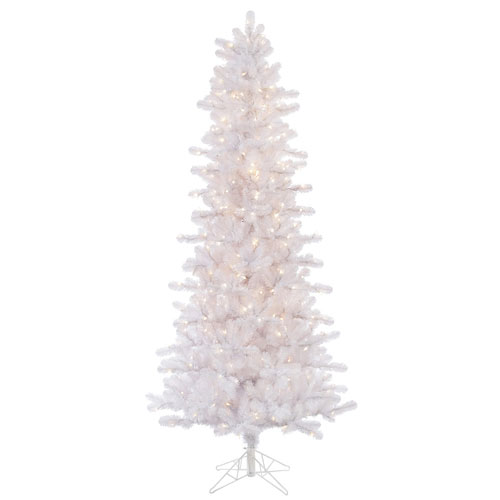 Crystal White 8.5 Foot Slim Pine with 650 Clear Lights