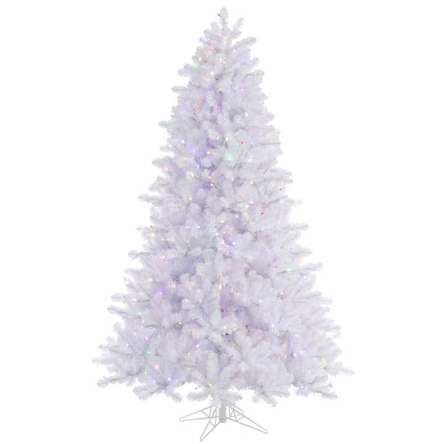 Crystal White 6.5 Foot LED Pine Tree with 550 Multicolor Lights