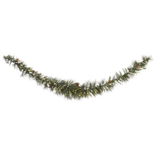 Green 9 Foot Vallejo Mix Swag LED Garland with 100 Warm White Lights