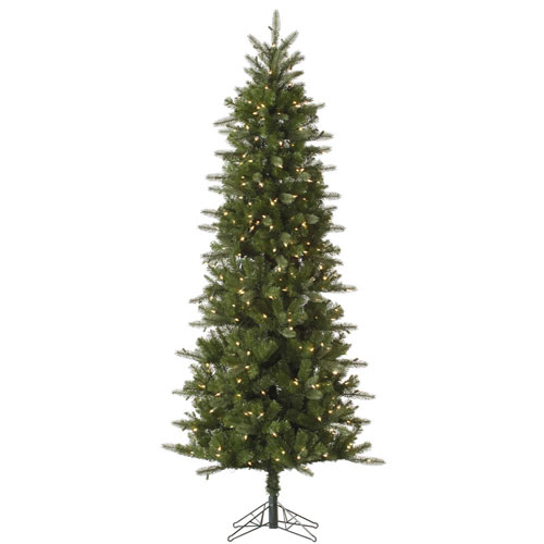 Green 12 Foot Carolina Pencil Spruce Tree with 800 Clear Lights