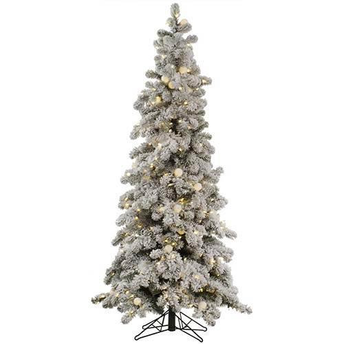 Flocked Kodiak 4 Foot x 26-Inch Christmas Tree with 175 Warm White LED Lights