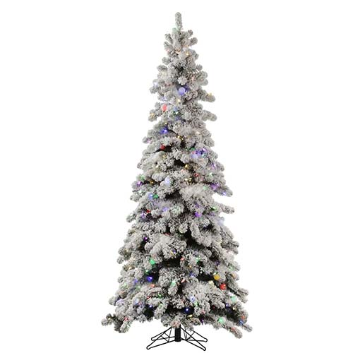 Flocked Kodiak 6 Foot x 36-Inch Christmas Tree with 450 Multi Color LED Lights