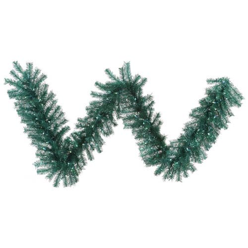 Aqua 9 Foot Tinsel Garland with 100 Teal Lights