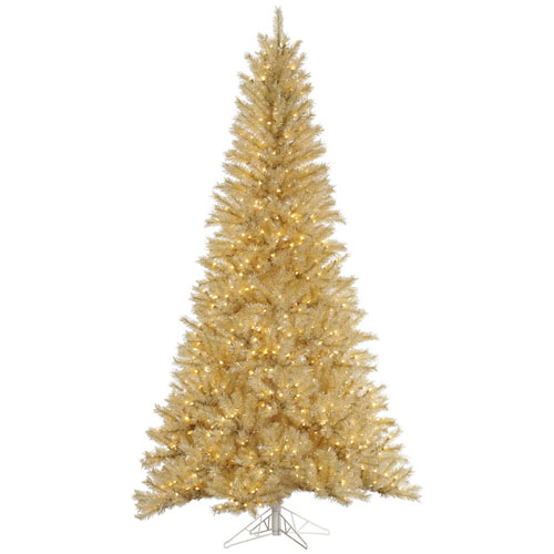 7 Ft. 6 In. White and Gold Tinsel Tree