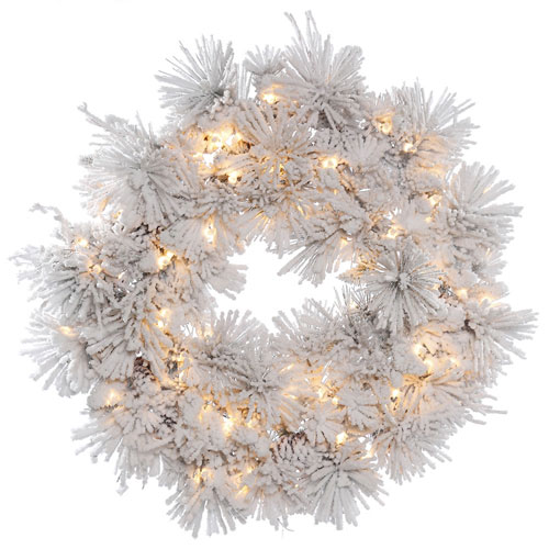 Vickerman 36 In. White Alberta Wreath with Lights