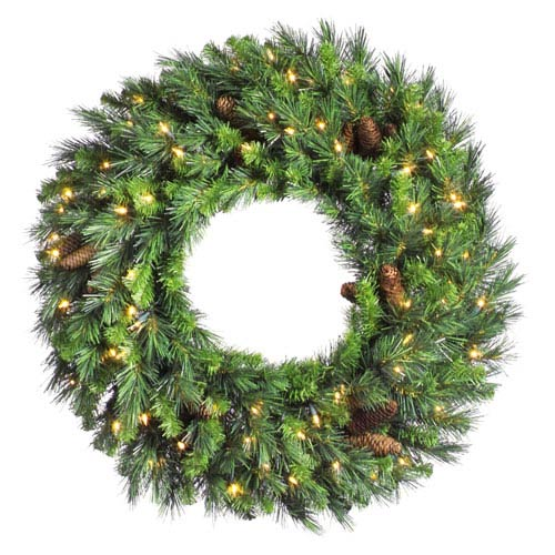 Cheyenne Pine 24-Inch Wreath w/50 Clear Dura-Lit Lights and 220 Tips