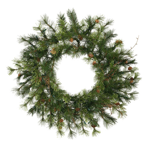 Green Mixed Country Pine Wreath 24-inch