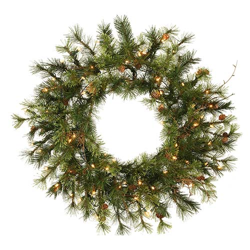 Vickerman Green Mixed Country Pine 36-Inch Wreath with 100 Warm White LED Lights