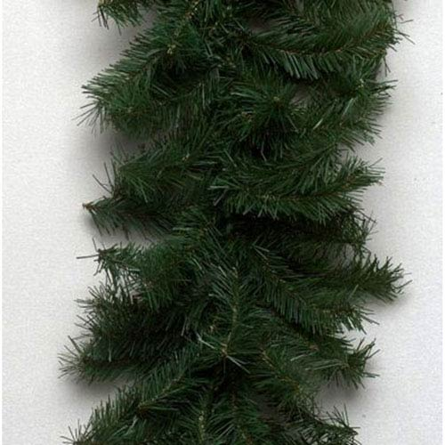 Green 9 Foot Canadian Garland with 35 Clear Lights