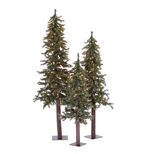 Green Natural Alpine Tree, Set of Three