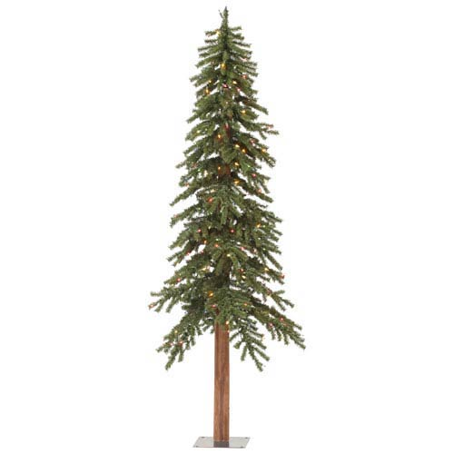 Green 8 Foot Natural Alpine Tree with 400 Multicolor Lights