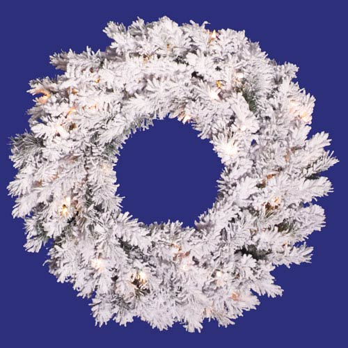 Flocked White on Green Alaskan Wreath 30-inch