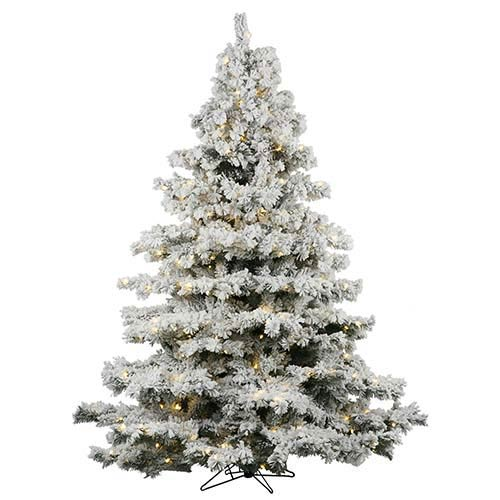 Flocked Alaskan White on Green 4.5 Foot x 44-Inch Christmas Tree with 300 Warm White LED Lights