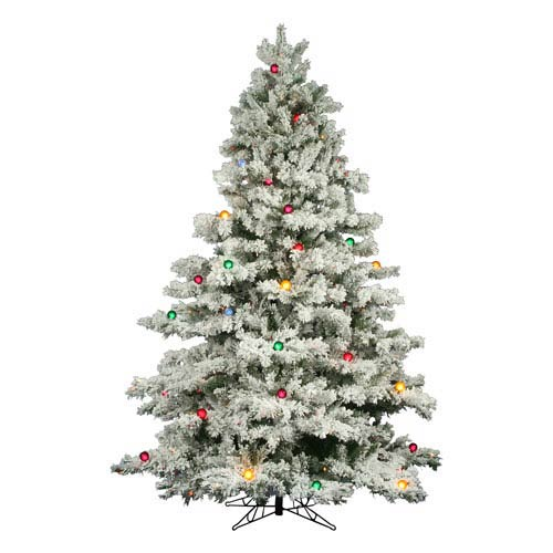 Vickerman Flocked Alaskan 7 5 Foot Christmas Tree W 800 Multi Color Mini Lights And G50 Lights And 1495 Tips A806378 Bellacor