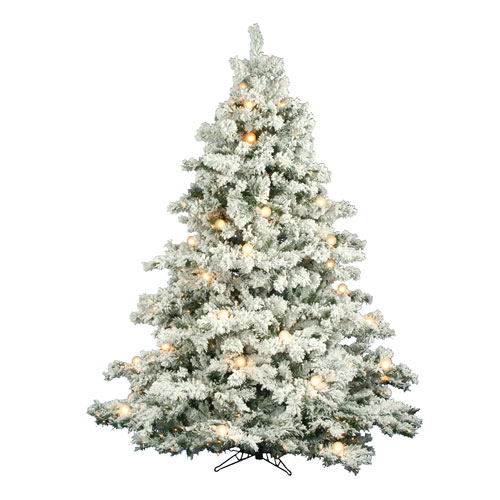 Vickerman Flocked Alaskan 7 5 Foot Christmas Tree W 800 Clear Mini Lights And G50 Lights And 1495 Tips A806379 Bellacor