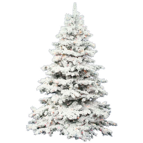 Flocked White on Green 9 Foot LED Alaskan Tree with 1200 Multicolor Lights