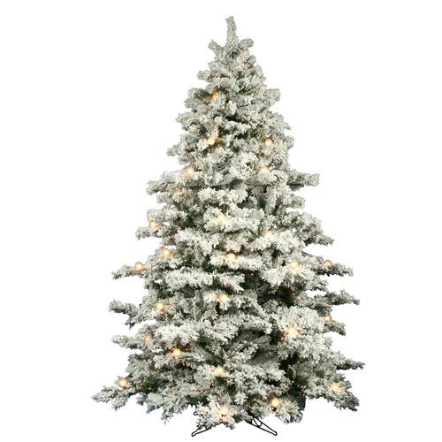 Flocked Alaskan 9-Foot Christmas Tree w/900 Clear Mini Lights and G50 Lights and 2059 Tips