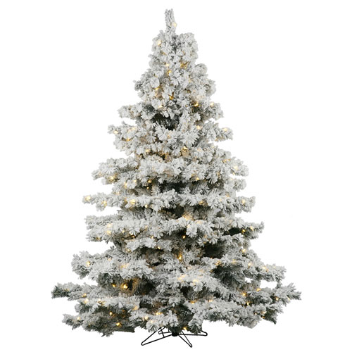 Flocked White on Green 10 Foot LED Alaskan Tree with 1400 Warm White Lights