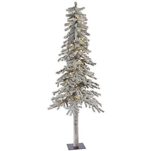 Flocked White on Green Alpine 6 Foot x 33-Inch Christmas Tree with 200 Warm White LED Lights and 490 Tips