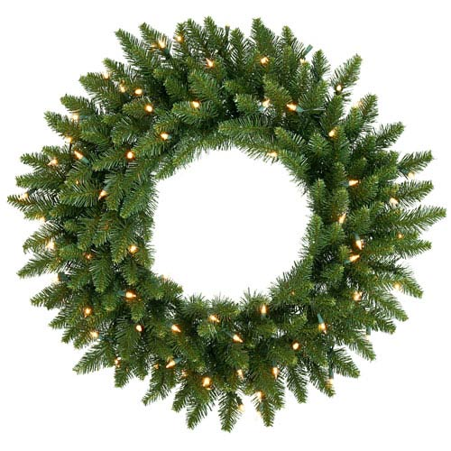Camdon Fir 30-Inch Wreath w/90 Frosted Warm White Wide Angle LED Lights and 170 Tips