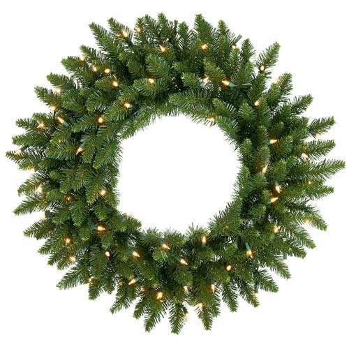 buy popular 262fd 6b3c4 Vickerman 36-In. Pre-Lit Camdon Fir Wreath with 100 Clear Lights