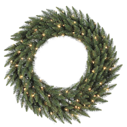 Green 36-Inch Camdon Fir LED Wreath with 100 Multicolor Lights