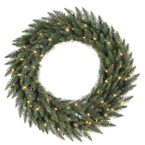 Green 48-Inch Camdon Fir LED Wreath with 200 Multicolor Lights