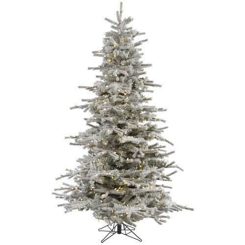 Flocked White on Green 7.5 Foot Sierra LED Christmas Tree with 750 Warm White Lights