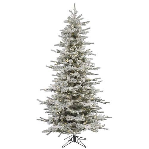 Flocked White on Green Slim Sierra 4.5 Foot x 38-Inch Christmas Tree with 250 Warm White LED Lights